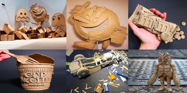 ¡La increíble artista japonesa del cartón corrugado que transforma las cajas viejas en tanques, naves espaciales y más!